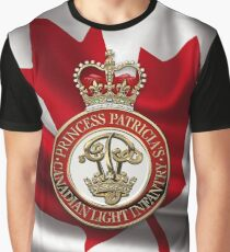 Princess Patricia's Canadian Light Infantry - PPCLI Cap Badge over Canadian Flag Graphic T-Shirt