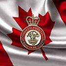 Princess Patricia's Canadian Light Infantry - PPCLI Cap Badge over Canadian Flag by Serge Averbukh