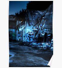 Abandoned Nightime Garage Poster