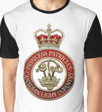 Princess Patricia's Canadian Light Infantry - PPCLI Cap Badge over White Leather Graphic T-Shirt