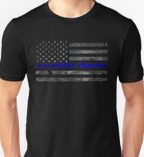 THIN BLUE LINE - BLUE LIVES MATTER Distressed Flag with Bullet Hole Unisex T-Shirt