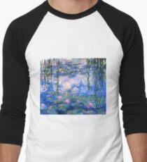 Wasserlilien Monet Baseballshirt mit 3/4-Arm