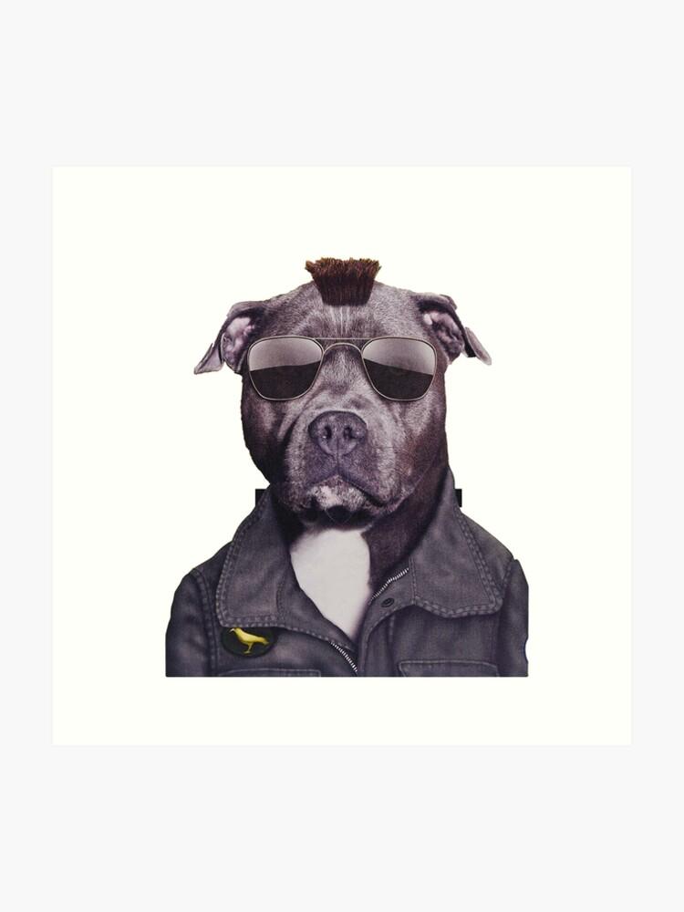 Hipster Pitbull | Art Print