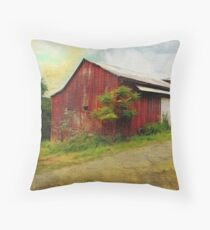Red Barn Grunge Throw Pillow