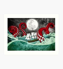 Kraken Attack Art Print