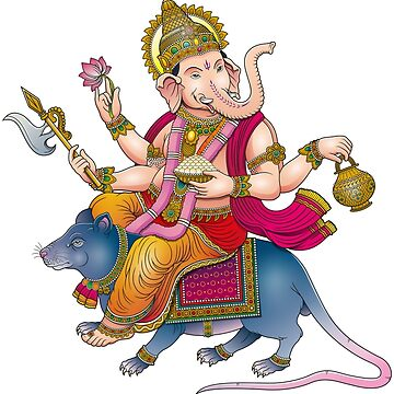 Lord Ganesha riding a mouse by satoriartwork