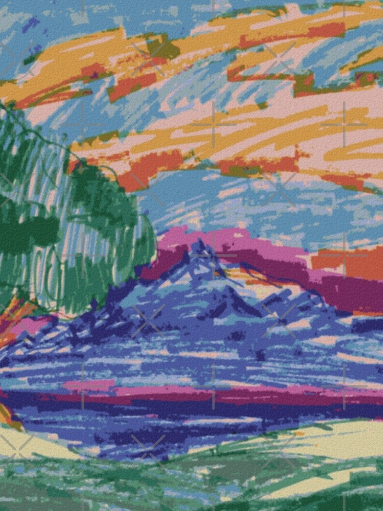 Felt Tip Pen Kids Drawing Mountain View With Tree A Line Dress By