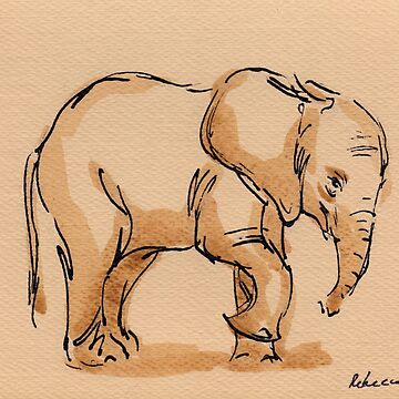 Little Lady:  Baby Elephant Watercolor Painting #17 - Loxodonta Africana by tranquilwaters