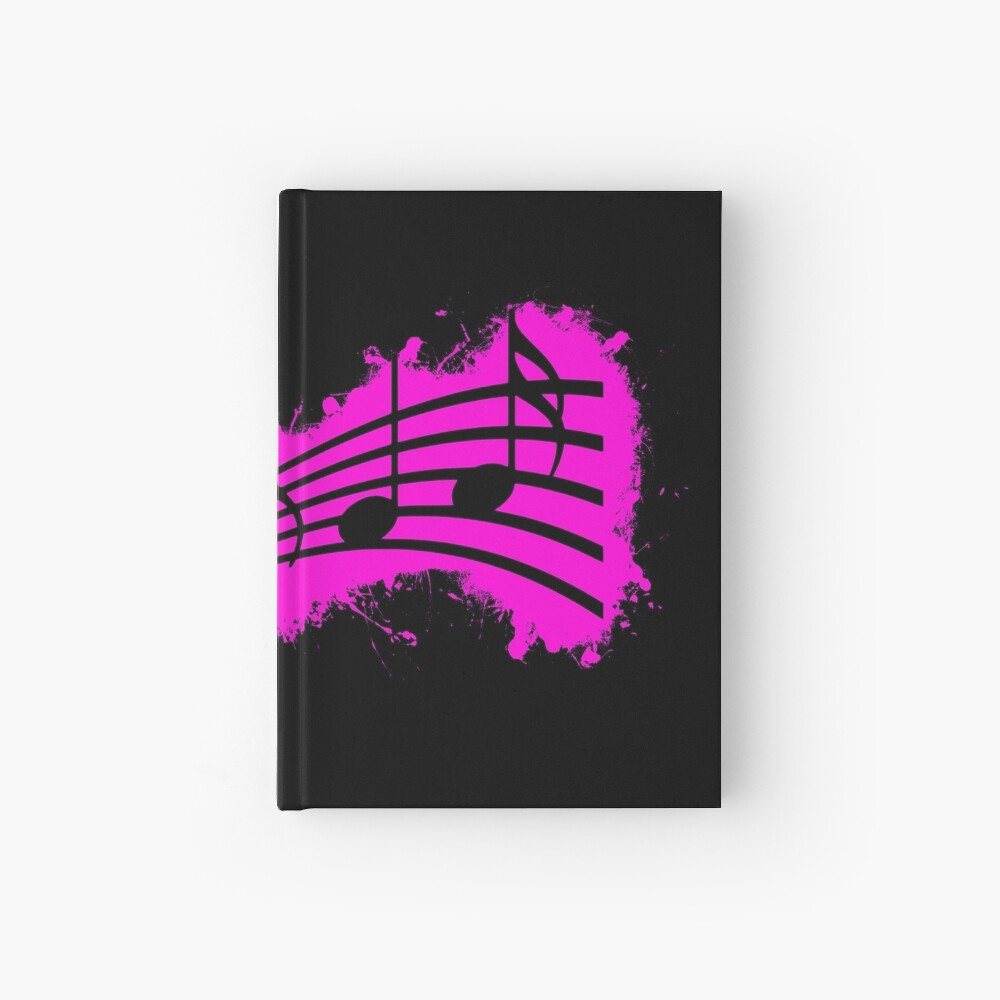 Silhouette musical pink and black silhouette Cuaderno de tapa dura