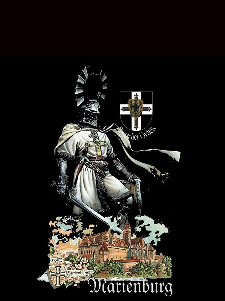 Teutonic Knight with coat of arms and Marienburg Castle  by edsimoneit