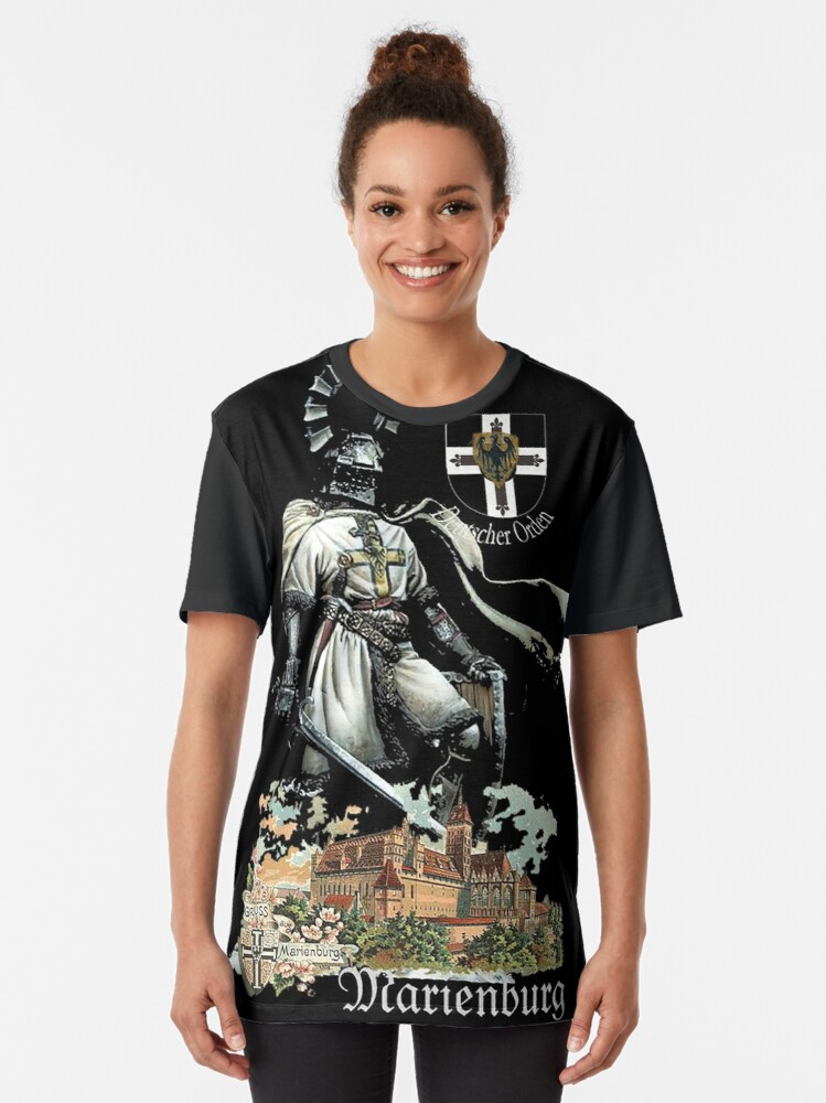 Alternate view of Teutonic Knight with coat of arms and Marienburg Castle  Graphic T-Shirt