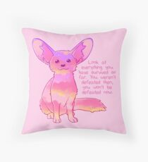 """""""You Won't Be Defeated Now"""" Fennec Fox Throw Pillow"""