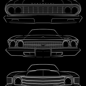 Evolution of the Chevy Chevelle - Front stencil, white by mal-photography