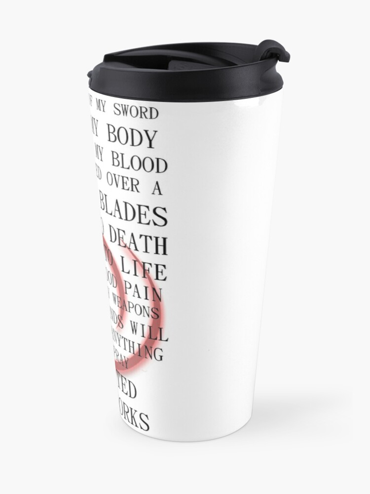 Alternate view of Fate Stay Night Unlimited Blade Works Archer And Shirou Quote With Command Seal Travel Mug
