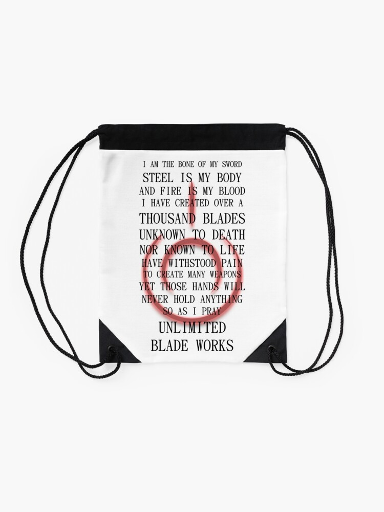 Alternate view of Fate Stay Night Unlimited Blade Works Archer And Shirou Quote With Command Seal Drawstring Bag
