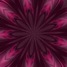 Fuchsia Pink Satin Shadows Fractal Abstract Kaleidoscope Mandala k07 by Artist4God