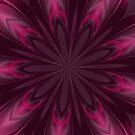 Fuchsia Pink Satin Shadows Fractal Abstract Kaleidoscope Mandala k07 by Artist4God