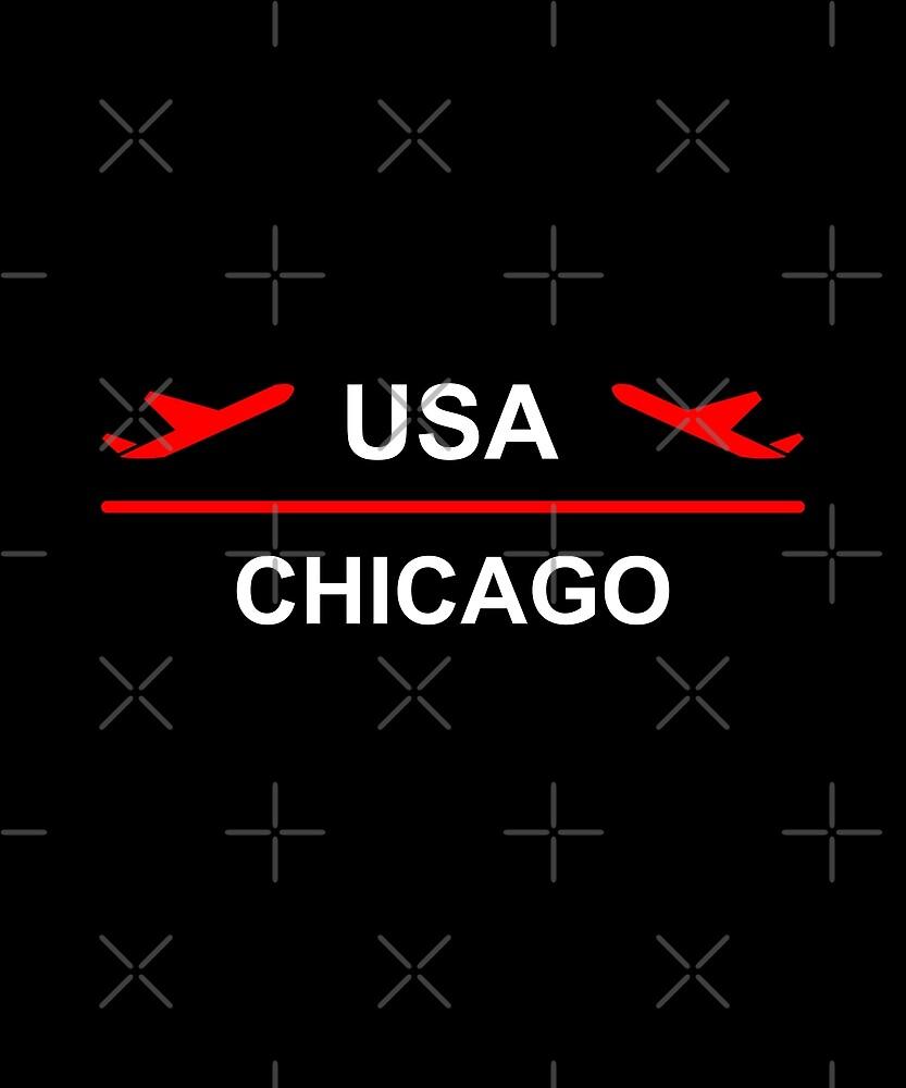 Chicago USA Airport Plane Dark Color by TinyStarAmerica