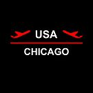 Chicago USA Airport Plane Dark Color by TinyStarAmerica