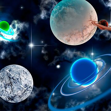 Planets With Clouds and Stars in Outer Space by Lisamegan