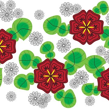 Red Flowers Abstract Design by Lisamegan