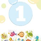 Underwater sea life birthday card for 1 year old by Tee Brain Creative