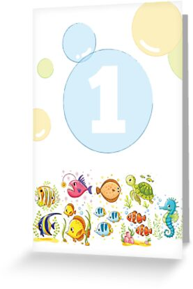 Underwater Sea Life Birthday Card For 1 Year Old Greeting By 0hmc