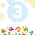 Underwater sea life birthday card for 3 year old by Tee Brain Creative