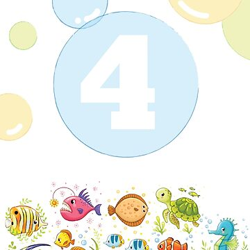 Underwater sea life birthday card for 4 year old by 0hmc