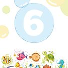 Underwater sea life birthday card for 6 year old by Tee Brain Creative