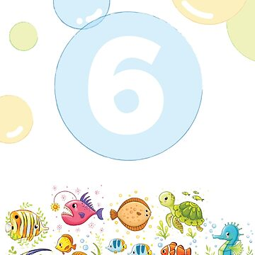 Underwater sea life birthday card for 6 year old by 0hmc
