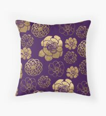 Gold And Purple Flowers Throw Pillow