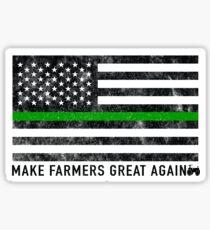 Make Our Farmers Great Again - Make Farmers Great Again - Thin Green Line US Patriotic Flag Sticker
