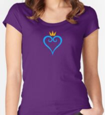 Crown and Heart Emblem Fitted Scoop T-Shirt