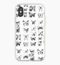 Butterflies in black and white pattern iPhone Case