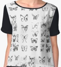 Butterflies in black and white pattern Chiffon Top
