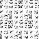 Butterflies in black and white pattern by bywhacky