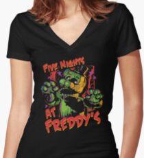 Five Nights At Freddy's Phantom Freddy Women's Fitted V-Neck T-Shirt