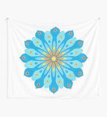 Mandala fleurs bleu, jaune, orange Tenture murale