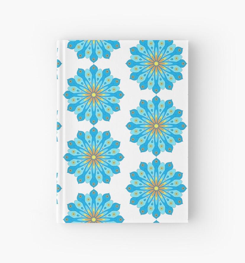 « Mandala fleurs bleu, jaune, orange » par RosaLeeDesign