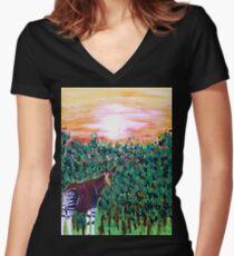 The Lonely Okapi Women's Fitted V-Neck T-Shirt