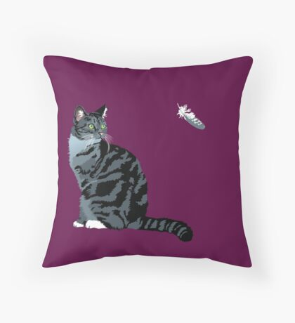 The Cat and The Feather Throw Pillow