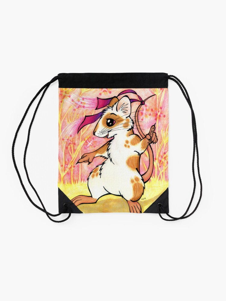 Alternate view of Boogie Mouse - Partying in the Field! Drawstring Bag