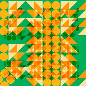70's Vintage Abstract Geometric Pattern Green and Orange  by signorino