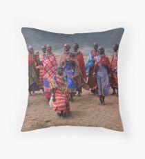 MASAI DANCERS - KENYA Throw Pillow