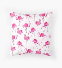 floridian flamingos - white Throw Pillow