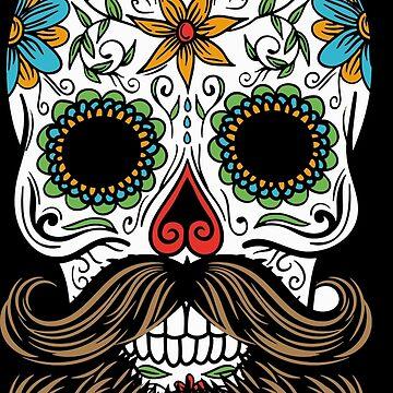Bearded Sugar Skull Candy Day Of The Dead Día De Muertos Mexico by LightningDes