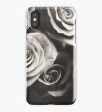 Medium format analog black and white photo of white rose flowers iPhone Case