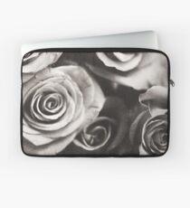 Medium format analog black and white photo of white rose flowers Laptop Sleeve