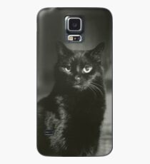 Portrait of black cat square black and white analogue medium format film Hasselblad  photograph Case/Skin for Samsung Galaxy